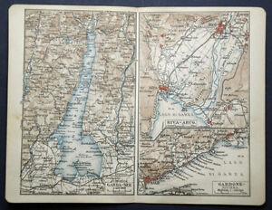 Cartina Topografica Lago Di Garda.1908 Antica Stampa Topografica Lago Di Garda Riva Arco Gardone Riviera Italia Ebay