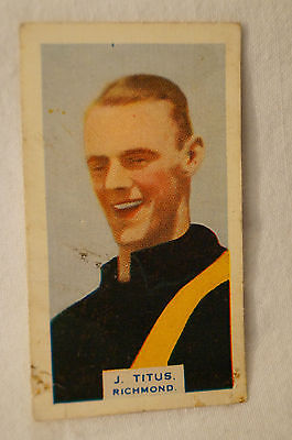 RICHMOND TIGERS - J. TITUS -1930's VINTAGE BDV CARD
