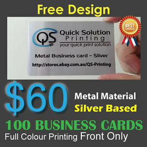 100 metal material business cards full colour printing front only image is loading 100 metal material business cards full colour printing reheart
