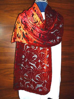 Velvet devore scarf   Floral design in shades of orange on black   NEW