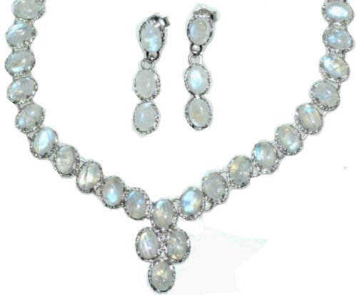 Moonstone Necklace Earrings SET Natural Mystic Solitaire Gemstones in 925 Silver