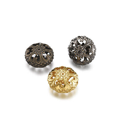 20pcs Iron Filigree Hollow Metal Beads Flat Round Unique Loose Spacers 23x12.5mm