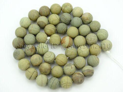 Natural Matte Silver Mist Jasper Gemstone Round Beads 15/'/' 4mm 6mm 8mm 10mm 12mm