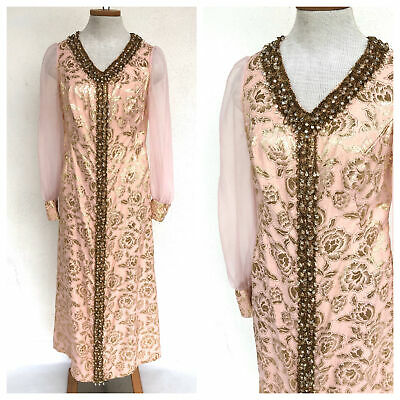 Vintage size 12 1960s two tone pink floral brocade mini dress with beaded front