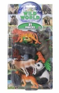 Natural-World-Wild-Animals-Plastic-Figures-Model-Zoo-Toys-21-Piece