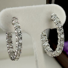 1.00 Ct Round Cut Natural Diamond Inside out Hoop Earrings in 14k White Gold