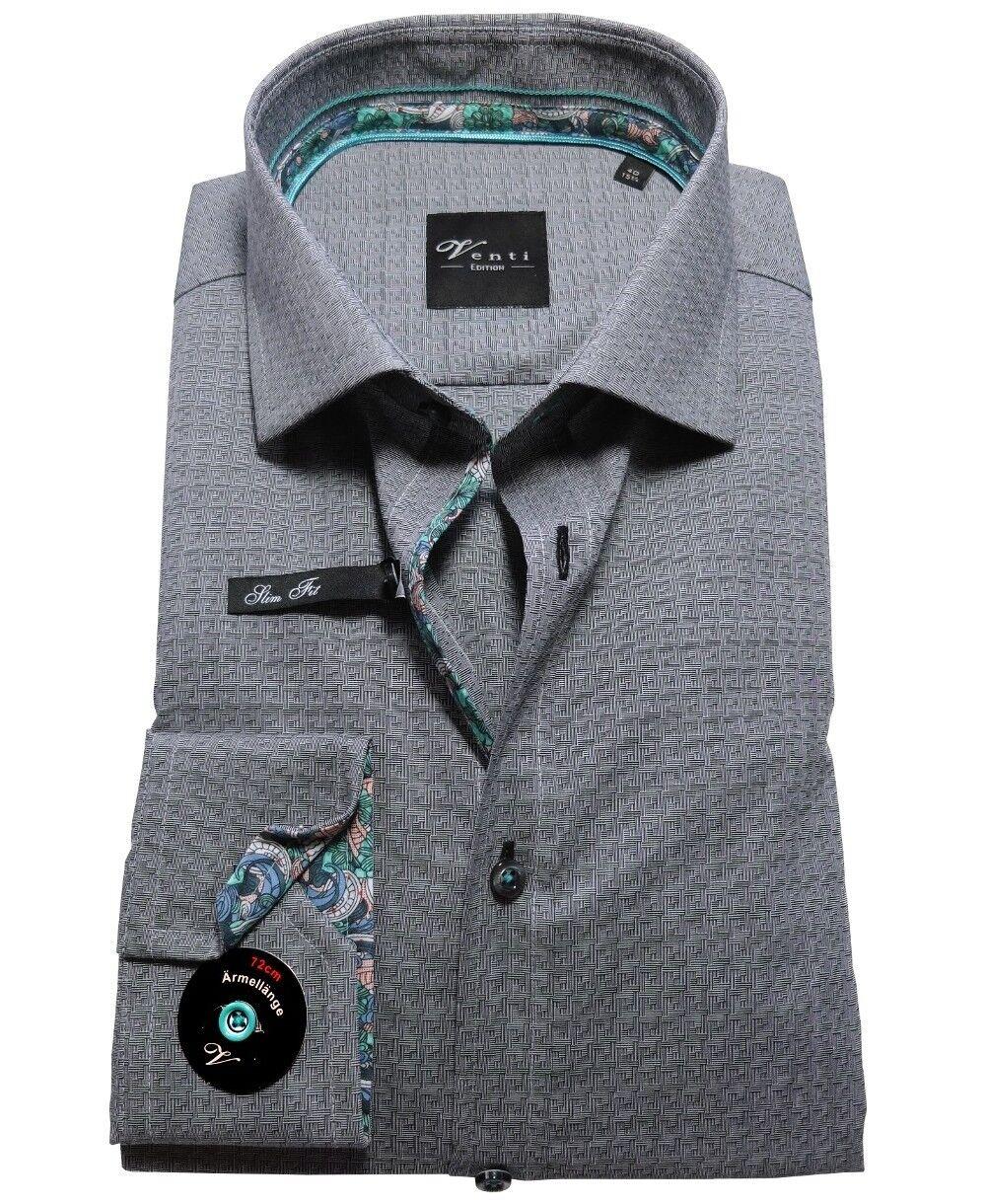 Venti Slim Fit Langarmhemd anthrazit Struktur extralanger Arm 72 cm Gr.40 bis 48    Vielfältiges neues Design
