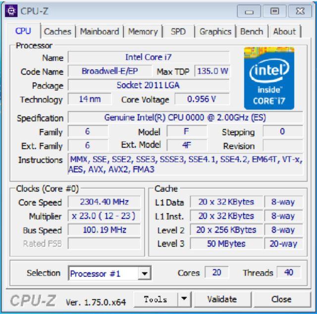 Intel Xeon E5-2698 v4 ES LGA2011-3 20C Compatible X99 i7-6850K 6900K 6950X