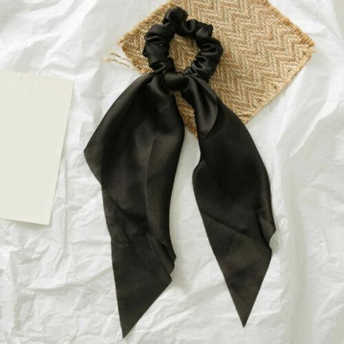 Women Bow Satin Long Ribbon Ponytail Scarf Hair Tie Scrunchie Elastic Hair Rope