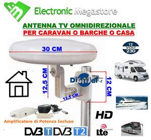 ANTENNA TV OMNIDIREZIONALE AMPLIFICATA PER CAMPER,BARCA,CAMION,CASA,DIGISAT HD