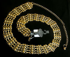 GOLD METAL BIKER CHAIN BELT Pin Up Girl CIRCLES n STUDS 24 26 2x 4x PLUS SIZE 3X