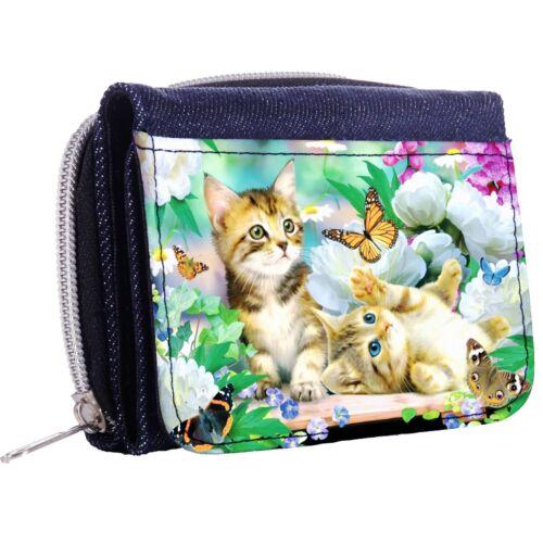 Playful Kitten Denim Tri-Fold Half Wallet w// ID Window Button
