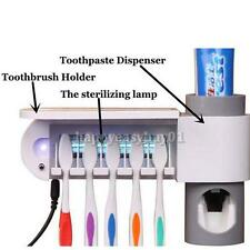 UV Toothbrush Holder Storage Set Sterilizer Automatic Toothpaste Dispenser Home
