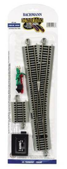 Bachmann BAC44566 HO #5 Right-Hand RH Switch E-Z Track Nickel-Silver NS