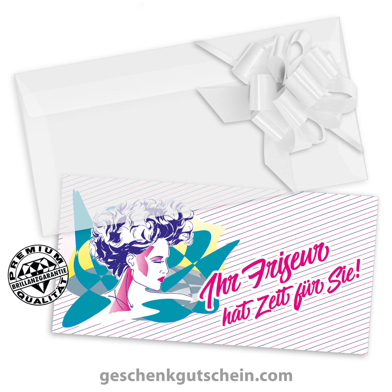 Gutscheinkarten  DINlang  mit KuGrüns und Schleifen für Friseure K9001