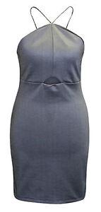 5c03736aa39e5 Ex Topshop Blue Silver Denim Strappy Cami Bodycon Dress Size 6 8 10 ...
