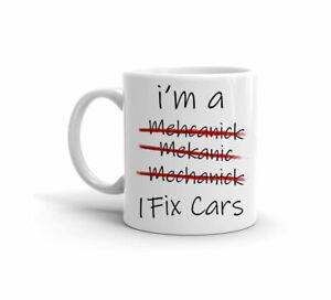 I-MECCANICO-Divertente-AM-A-Spelling-FIX-auto-Carino-Regalo-11-OZ-Tazza-Da-Caffe-Te