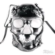 Steampunk Full Face Theater Masquerade Mask for Men - Metallic Silver