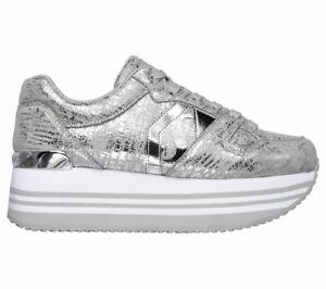 plateau sneaker weiß silber new