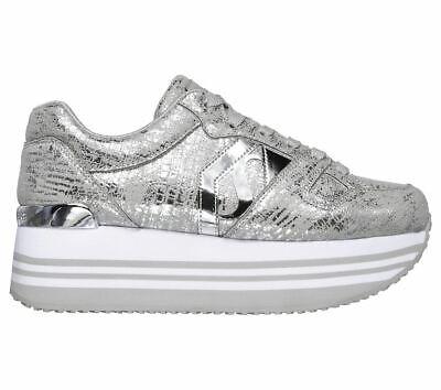 NEU SKECHERS 73930 Highrise Plateau Sneaker silber metallic Q1Rpn