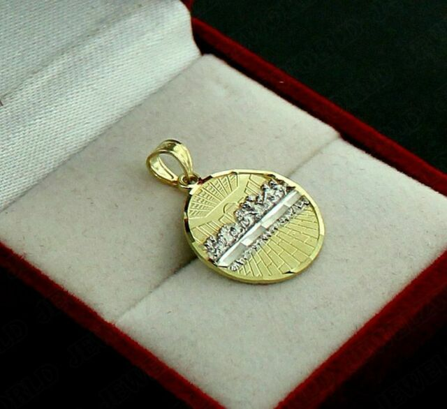 10K Yellow Gold Round Last Supper Jesus Charm Pendant /& 2mm Rope Chain Necklace