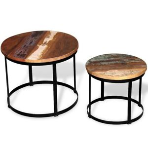 Details About 2 Round Coffee Tables Set Solid Reclaimed Wood Industrial Side Table Night Stand