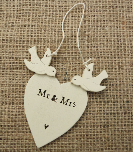 East Of India Hanging Mr Mrs Decoration Wedding Gift Dove Heart