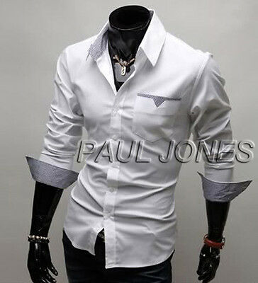 Top Designer Men's Slim Fit Casual Long Sleeve Dress Shirts Tops Stretch Blouse