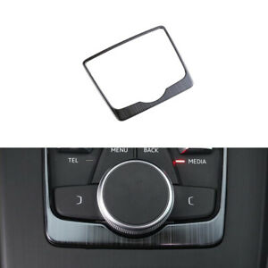 Stainless-Steel-Gear-Shift-Box-Panel-Frame-Cover-Trim-Black-For-Audi-A4-B9-17-19