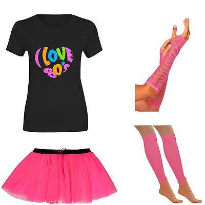 Womens I Love 80s T Shirt Tutu Skirt Gloves Neon Legwarmer Set Ladies Hen Party Zu Hohes Ansehen Zu Hause Und Im Ausland GenießEn