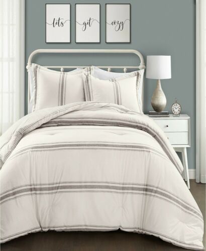 Lush Decor Farmhouse Stripe Print KING 3-PC Comforter Set 200TC Cotton Gray $560