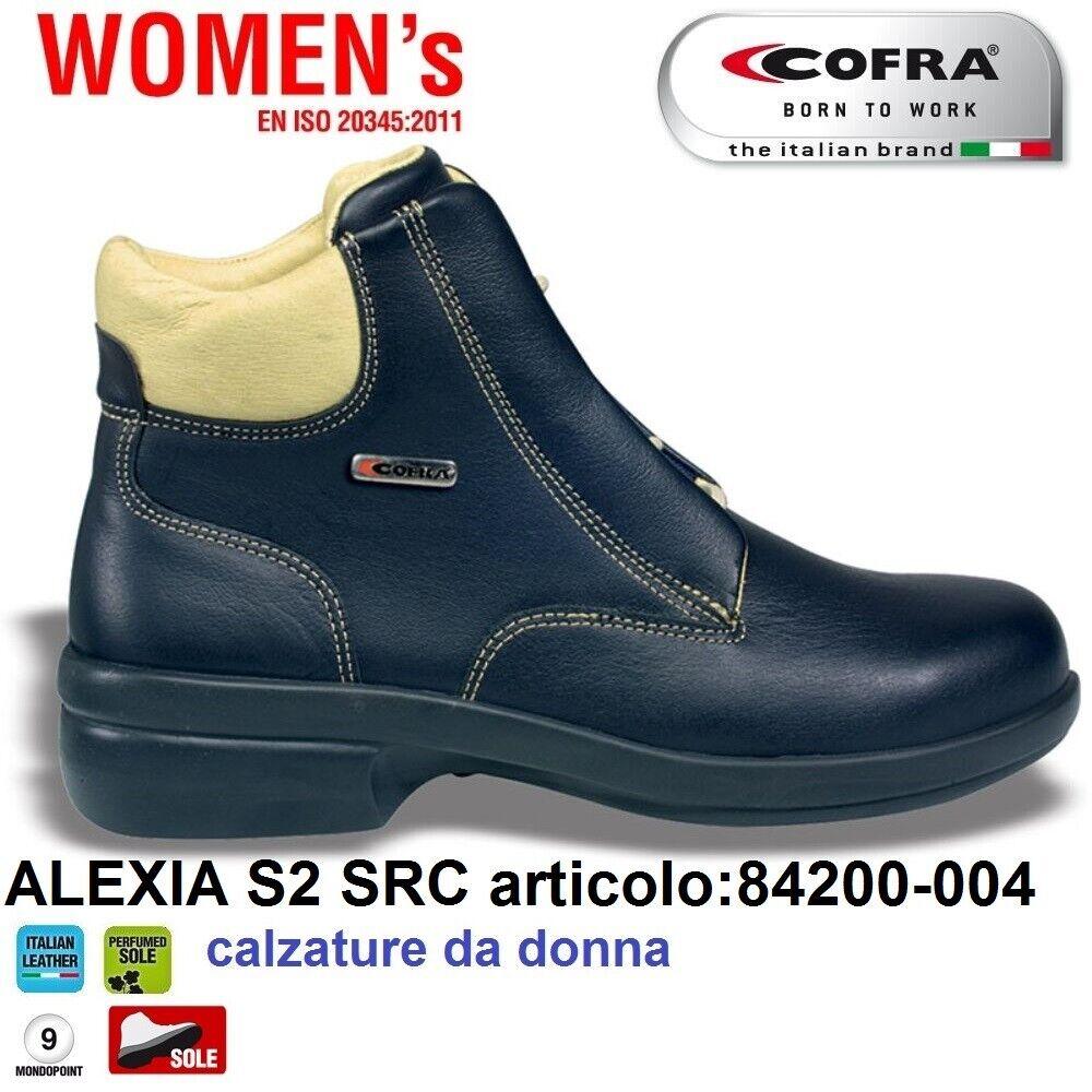 Scarpe Antinfortunistiche COFRA linea WOMENS tipo polacco modello ALEXIA S2 SRC , pelle fiore idrorepellente , calzature da donna 84200 004