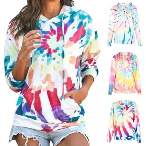 Details about  /Womens Tie Dye Hoodie Hooded Sweatshirt Casual Long Sleeve Pullover Jumper Top