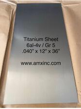 Titanium Sheet 6al 4v 040 X 12 X 36