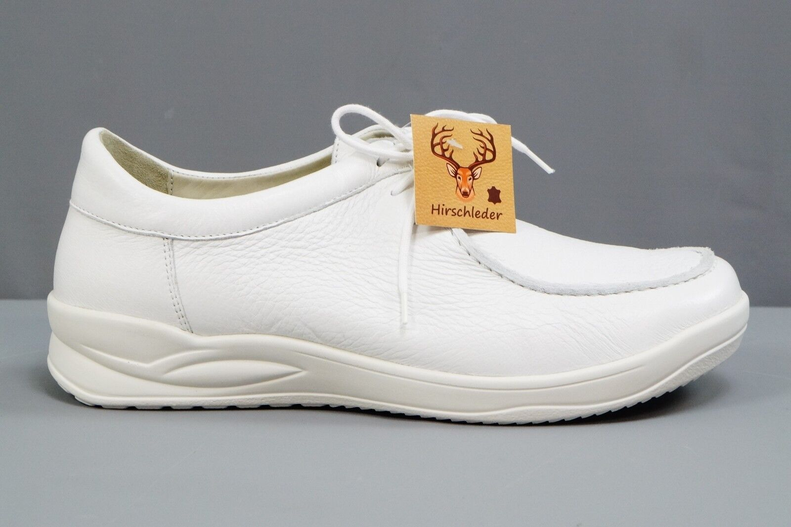 Ströber Mens Loafer Lace Up zapatos because semi-Stag blanco Talla 40,5 NEW  354