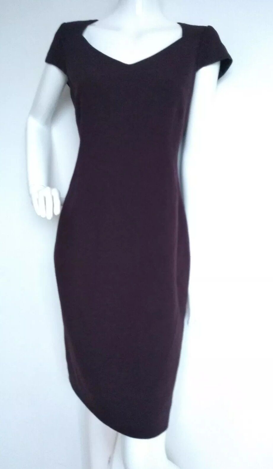 JAEGER crepe wool shift dress size 14 --MINT-- knee length plum 100% Virgin Wool