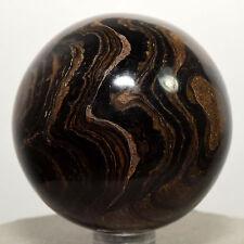 "2.1"" Stromatolite Sphere Carved Brown Algae Fossil Crystal Gemstone Ball - Peru"