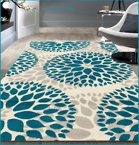 8 X 10 Teal Gray Off White Area Rug Contemporary Modern