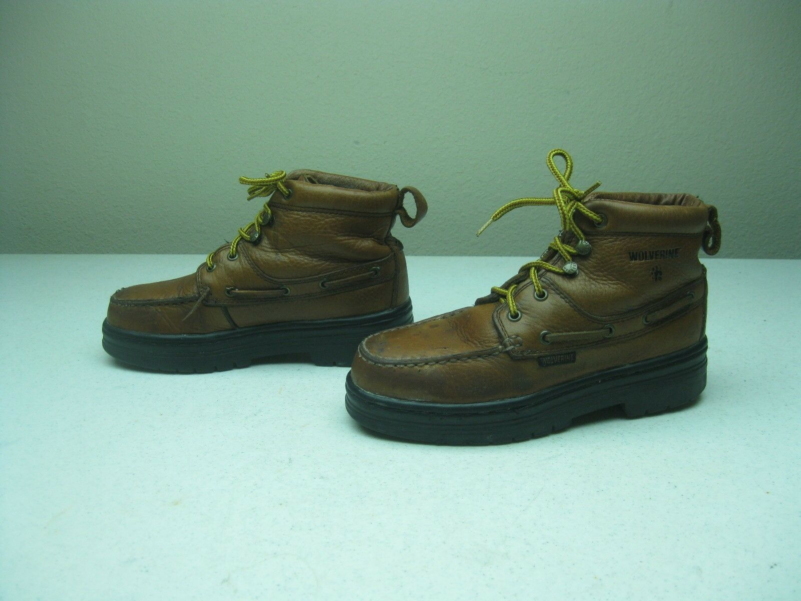 BROWN DISTRESSED STEEL TOE WOLVERINE LACE UP WORK CHORE BOOTS SZE 6 M