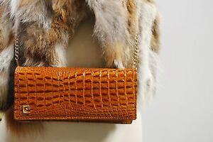 Hand Krokolederoptik Handtasche True Black Tasche 80s 80er Vintage Echtleder Bag a01TWxn