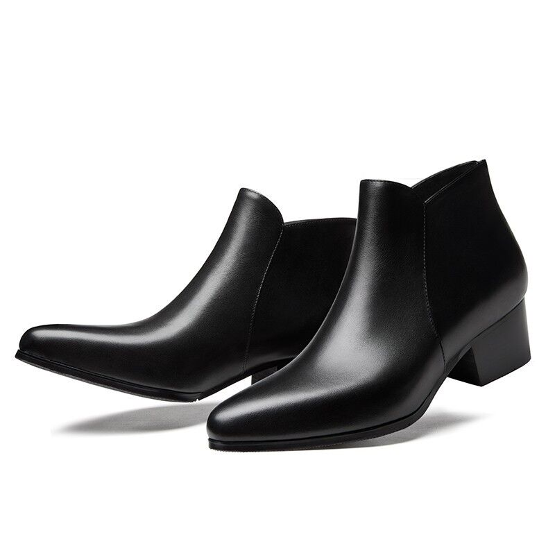 presa di fabbrica Pointy Toe Uomo Real Leather Short Ankle stivali stivali stivali Block Heels Zipper nero scarpe sz  più sconto