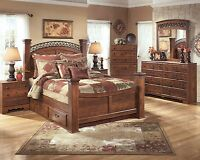 King Poster Canopy Bed Marble Top 5 Piece Bedroom Set Ebay