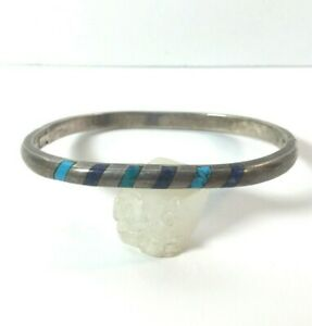 Vintage-Sterling-Silver-Bracelet-Turquoise-Lapis-Taxco-Mexico-Hinged-Oval-Modern
