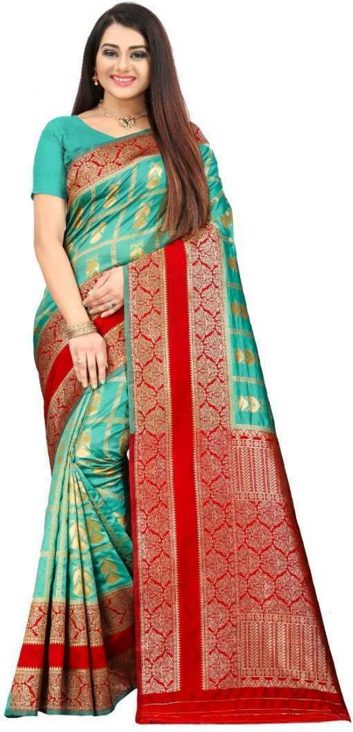 Woven Banarasi Jacquard, Indian Ethnic Wedding Saree With Unstiched Blouse