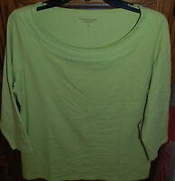 Large $39.95 Coldwater Creek Chiffon Necklaced Tee 3/4 Sleeves