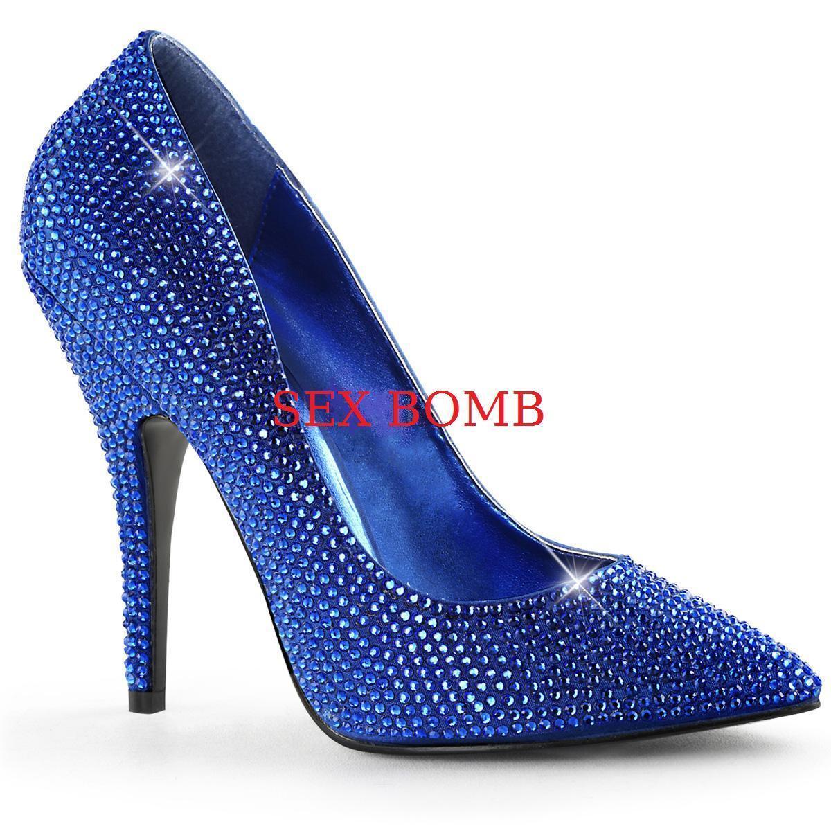promozioni eccitanti SEXY scarpe decolte STRASS tacco 13 cm BLU ROYAL ROYAL ROYAL dal 35 al 41 satin GLAMOUR  spedizione gratuita in tutto il mondo