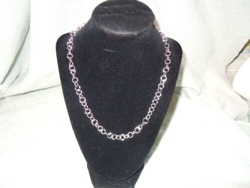 """JEWELRY #E204 NEW 19/"""" PURE SILVER .999 BULLION NECKLACE HAND MADE ANARCHY P.M"""