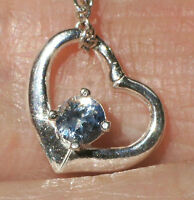 Genuine Blue 3mm Montana Sapphire 925 Sterling Silver Weeping Heart Pendant