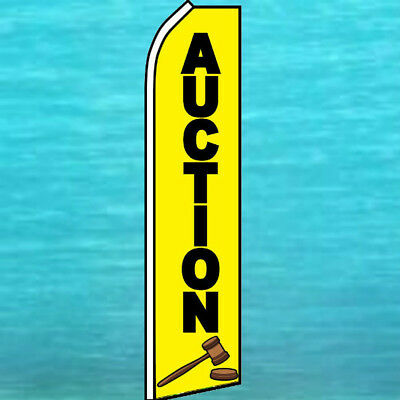 SIGNS MADE HERE Red Yellow Flag Tall Feather Bow Swooper Curved Top Banner Sign