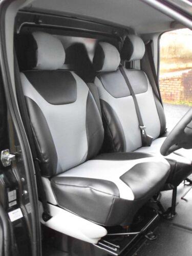 VAUXHALL VIVARO VAN SEAT COVERS SILVER BLACK LEATHERETTE MADE TO MEASURE